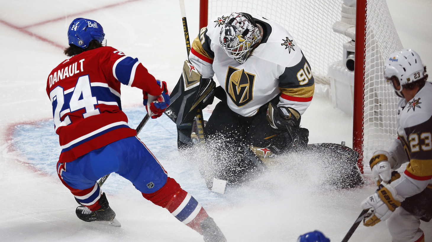 MONTREAL, QUEBEC - JUNE 20: Robin Lehner #90 of the Vegas Golden Knights makes the save against Phillip Danault #24 of the Montreal Canadiens during the second period in Game Four of the Stanley Cup Semifinals of the 2021 Stanley Cup Playoffs at Bell Centre on June 20, 2021 in Montreal, Quebec. (Photo by Vaughn Ridley/Getty Images)