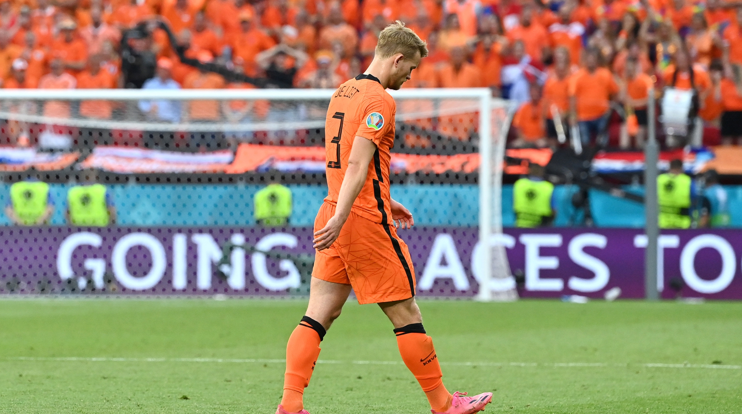 Matthijs de Ligt of Netherlands looks dejected after being shown a red card during the UEFA Euro 2020 Championship Round of 16 match between Netherlands and Czech Republic at Puskas Arena on June 27, 2021 in Budapest, Hungary.