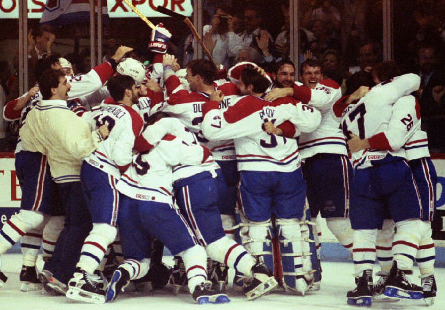The Montreal Canadiens celebrate their Stanley Cup victory