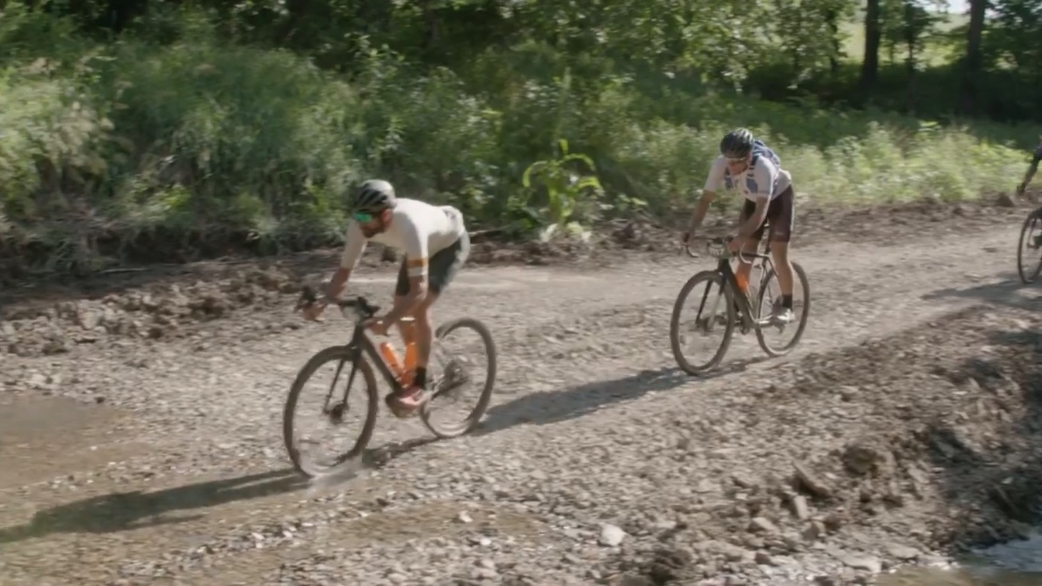 Riders tackle a stream crossing.
