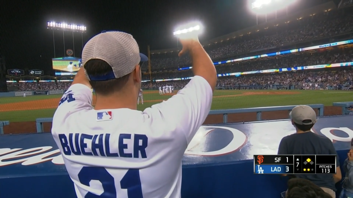 Dodger fan gives a thumbs down
