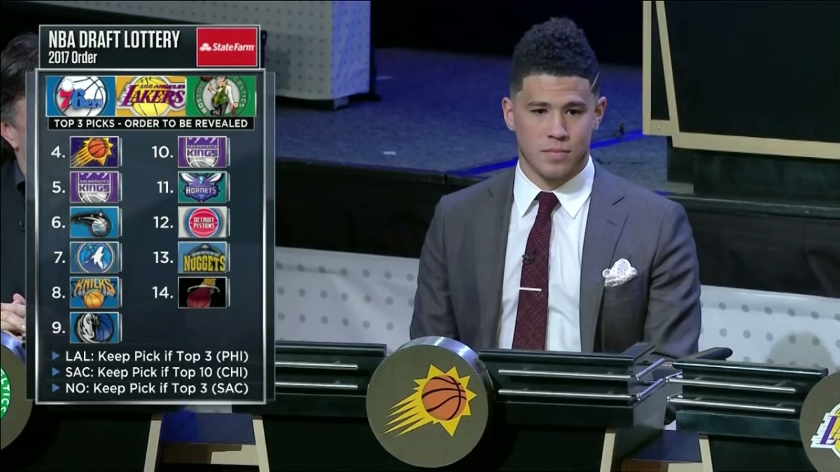 Devin Booker in a suit, sitting at the 2017 NBA Draft Lottery