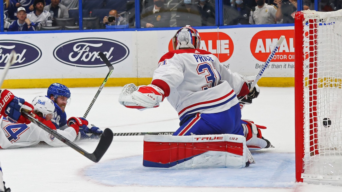 TAMPA, FLORIDA - JUNE 30: Blake Coleman #20 of the Tampa Bay Lightning scores against Carey Price #31 of the Montreal Canadiens during the second period in Game Two of the 2021 NHL Stanley Cup Final at Amalie Arena on June 30, 2021 in Tampa, Florida. (Photo by Bruce Bennett/Getty Images)