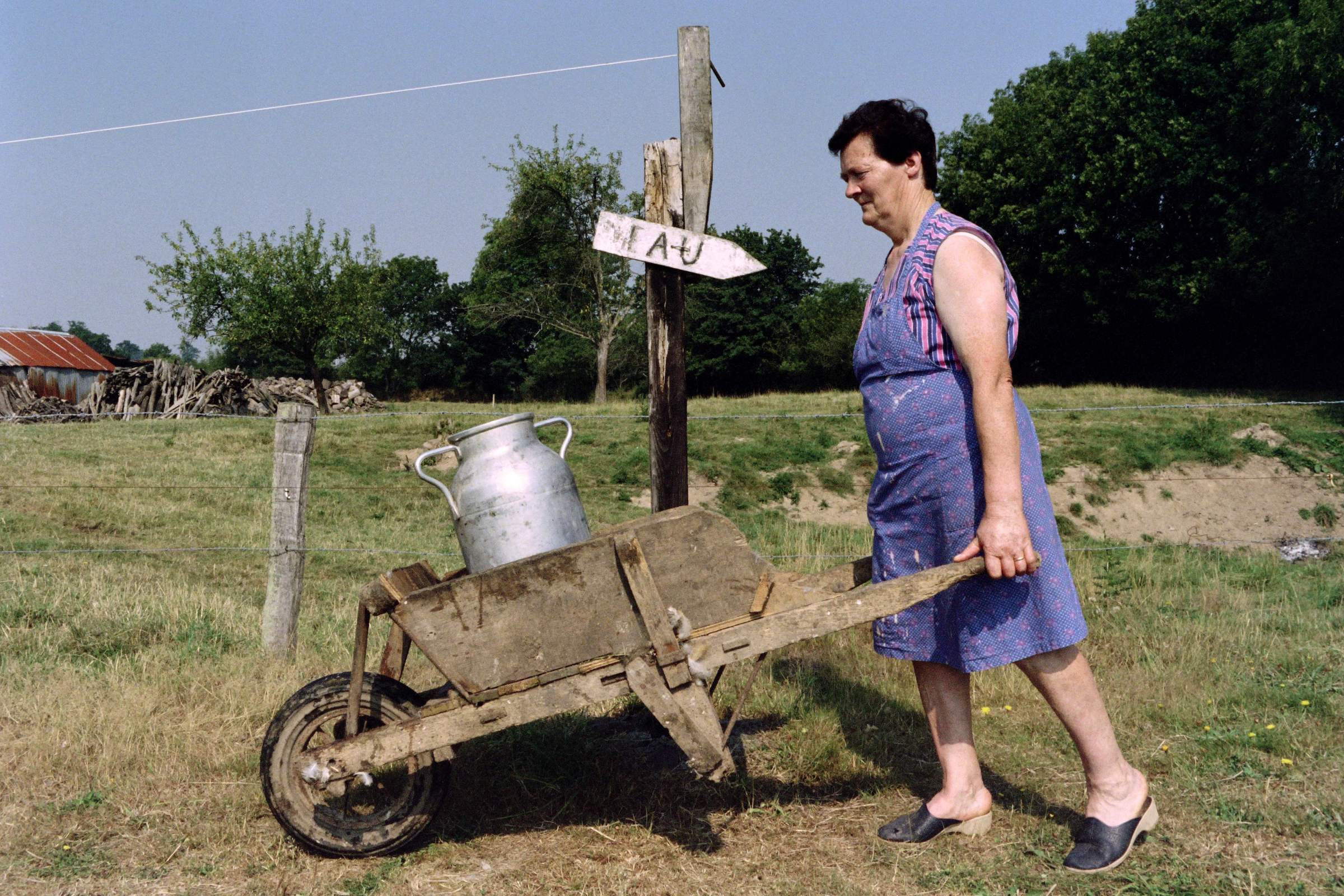 Coming back from collect water, a woman, deprived of drinking water in her house, pushes a wheelbarrow containing a large pitcher of water on August 03, 1990 in Saint-Martin-des-Besaces, France.