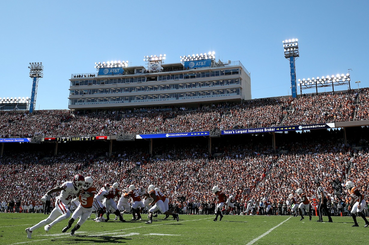 DALLAS, TEXAS - OCTOBER 12: A general view of play between the Texas Longhorns and the Oklahoma Sooners during the 2019 AT&T Red River Showdown at Cotton Bowl on October 12, 2019 in Dallas, Texas. (Photo by Ronald Martinez/Getty Images)