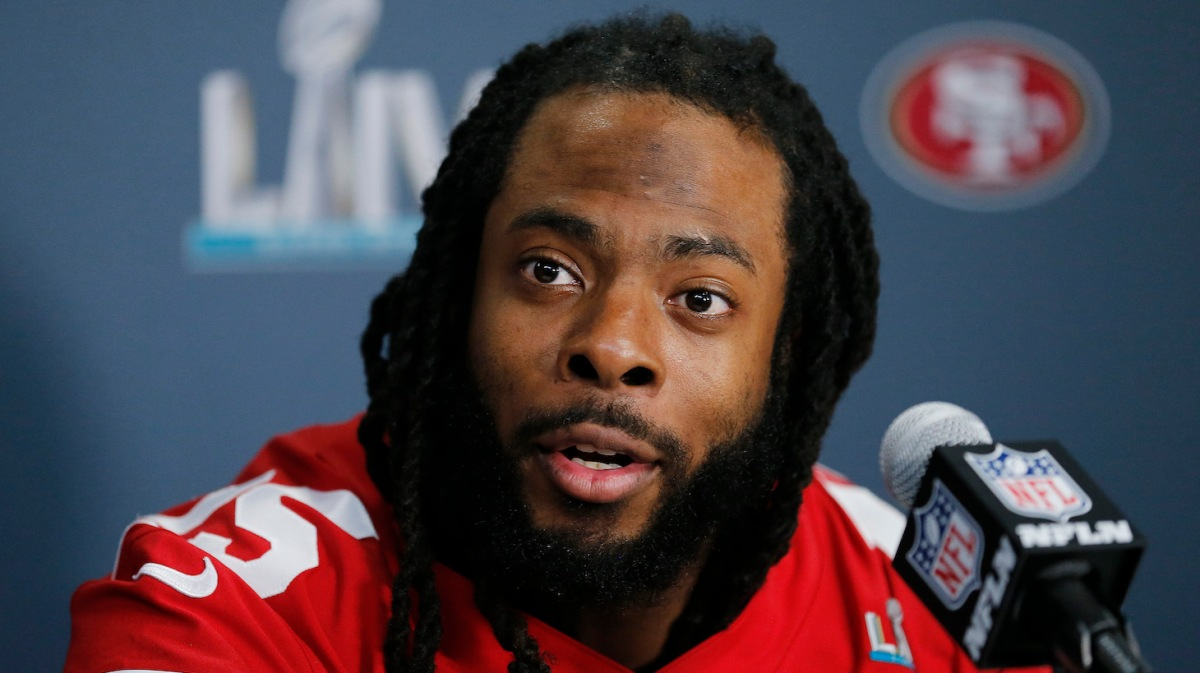 MIAMI, FLORIDA - JANUARY 30: Richard Sherman #25 of the San Francisco 49ers speaks to the media during the San Francisco 49ers media availability prior to Super Bowl LIV at the James L. Knight Center on January 30, 2020 in Miami, Florida. (Photo by Michael Reaves/Getty Images)