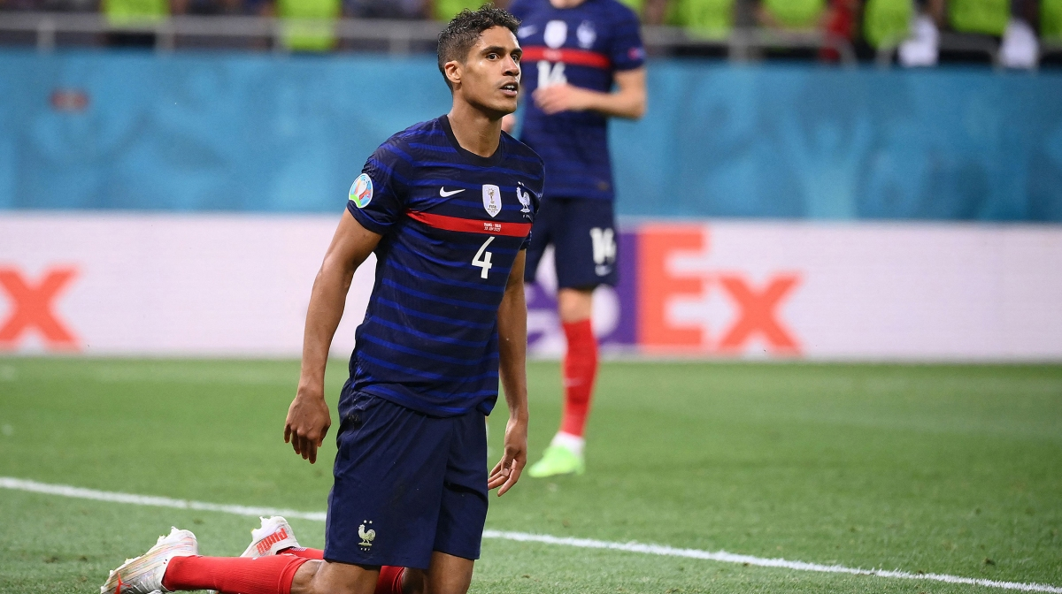 France's defender Raphael Varane gets back on his feet during the UEFA EURO 2020 round of 16 football match between France and Switzerland at the National Arena in Bucharest on June 28, 2021.