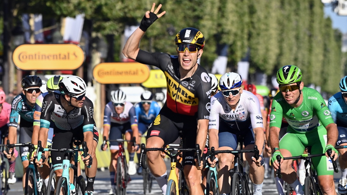 Belgian Wout Van Aert of Team Jumbo-Visma celebrates as he crosses the finish line to win the 21 and last stage of the 108th edition of the Tour de France cycling race, 108,4 km from Chatou to Paris in France, Sunday 18 July 2021. This year's Tour de France takes place from 26 June to 18 July 2021.