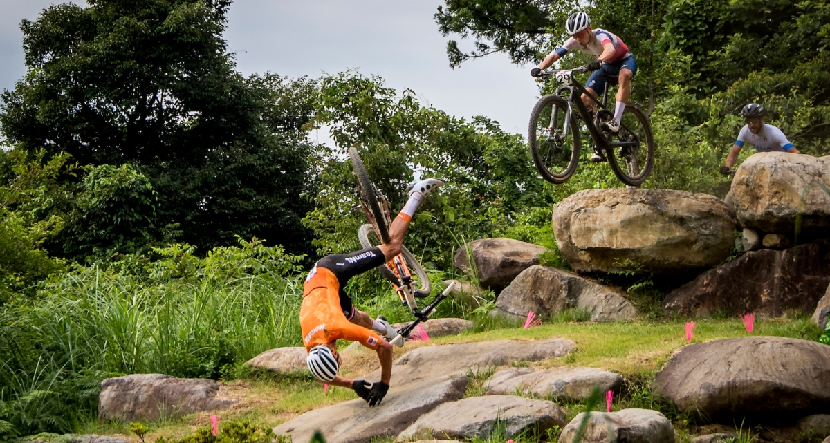 Dutch Mathieu Van der Poel falls during the men final race of the Mountainbike (VTT) event on the Izu track, on the fourth day of the 'Tokyo 2020 Olympic Games' in Tokyo, Japan on Monday 26 July 2021. The postponed 2020 Summer Olympics are taking place from 23 July to 8 August 2021. BELGA PHOTO JASPER JACOBS (Photo by JASPER JACOBS/BELGA MAG/AFP via Getty Images)
