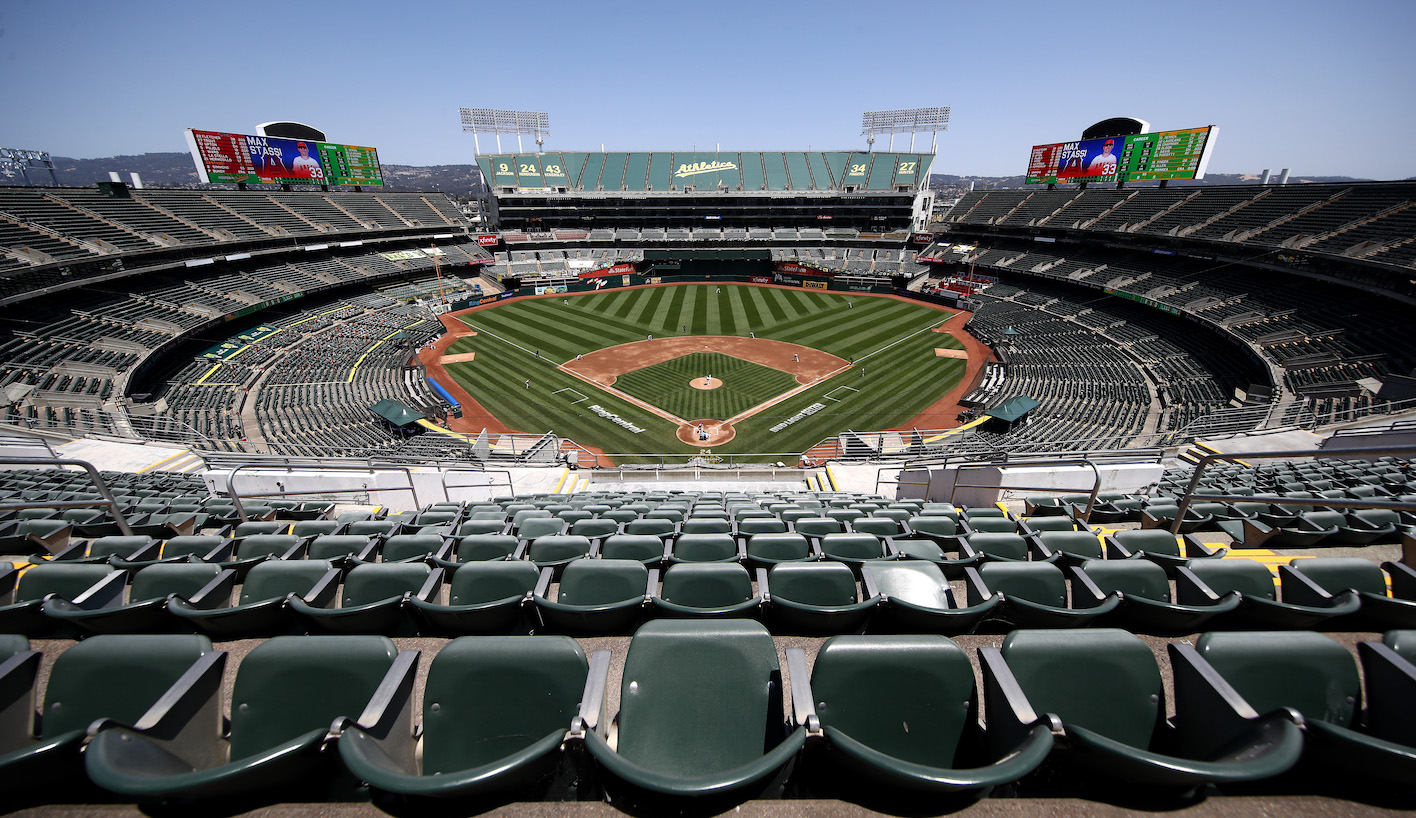 OAKLAND, CALIFORNIA - JULY 25: A general view of the Oakland Athletics playing against the Los Angeles Angels in an empty stadium at Oakland-Alameda County Coliseum on July 25, 2020 in Oakland, California. The 2020 season had been postponed since March due to the COVID-19 pandemic. (Photo by Ezra Shaw/Getty Images)