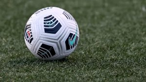 The game ball seen on the pitch during the game between the NJ/NY Gotham FC and the North Carolina Courage on April 20, 2021 and MSU Soccer Park in Montclair, New Jersey.