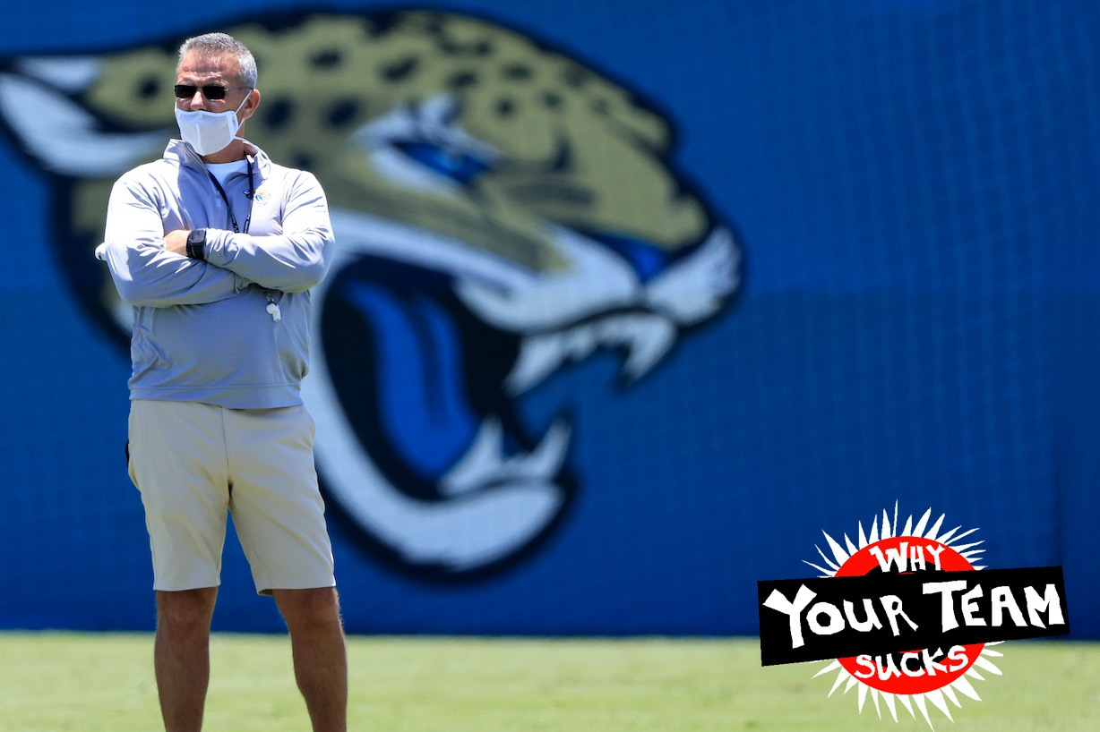 JACKSONVILLE, FLORIDA - MAY 15: Head coach of the Jacksonville Jaguars Urban Meyer watches the action during Jacksonville Jaguars Training Camp at TIAA Bank Field on May 15, 2021 in Jacksonville, Florida. (Photo by Sam Greenwood/Getty Images)