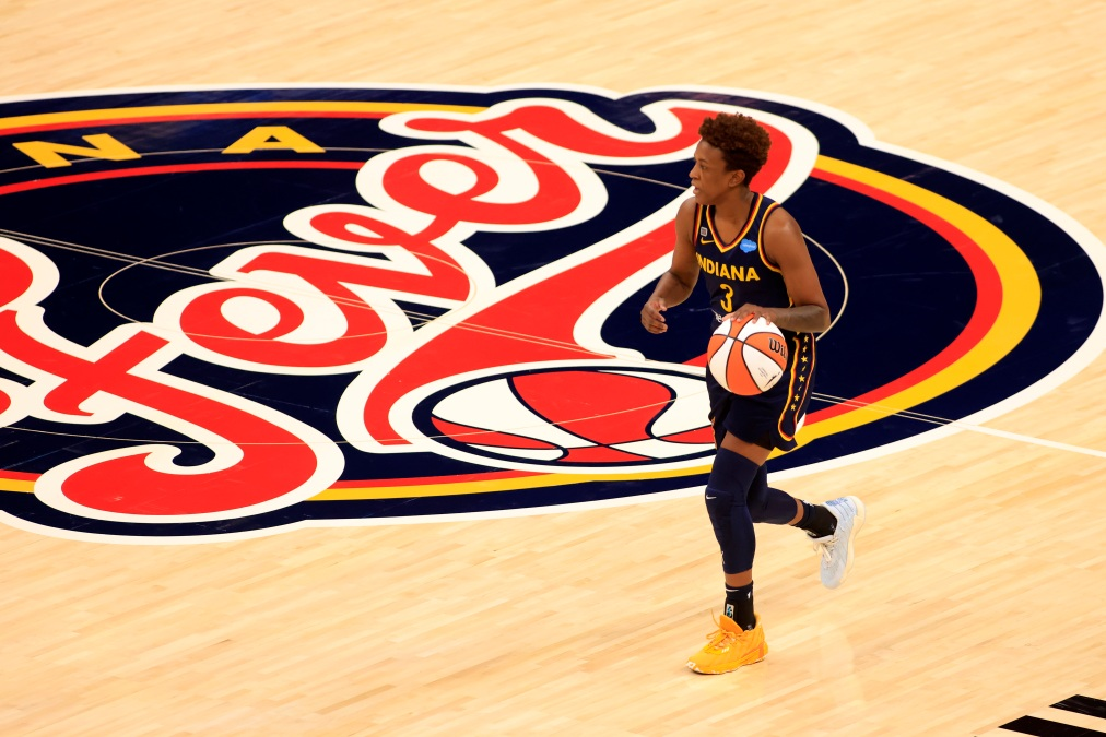 Danielle Robinson #3 of the Indiana Fever brings the ball up the court in the game against the New York Liberty at Bankers Life Fieldhouse on May 16, 2021 in Indianapolis, Indiana.