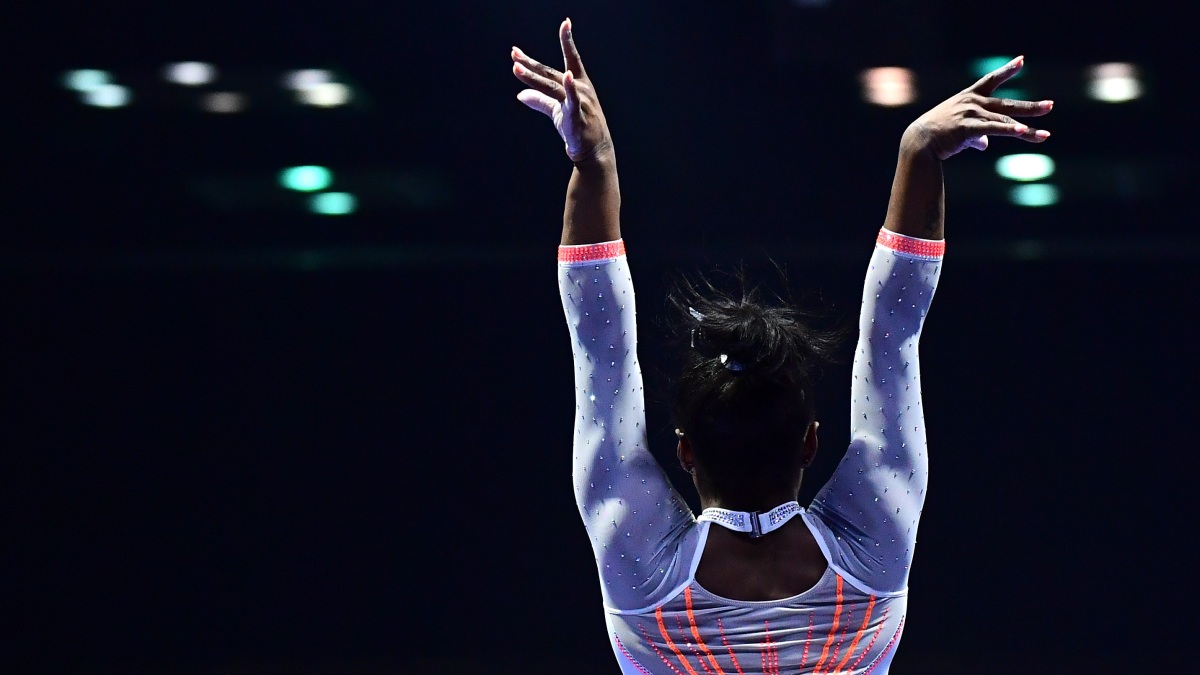 Simone Biles after landing a Yurchenko double pike dismount at the GK U.S. Classic.
