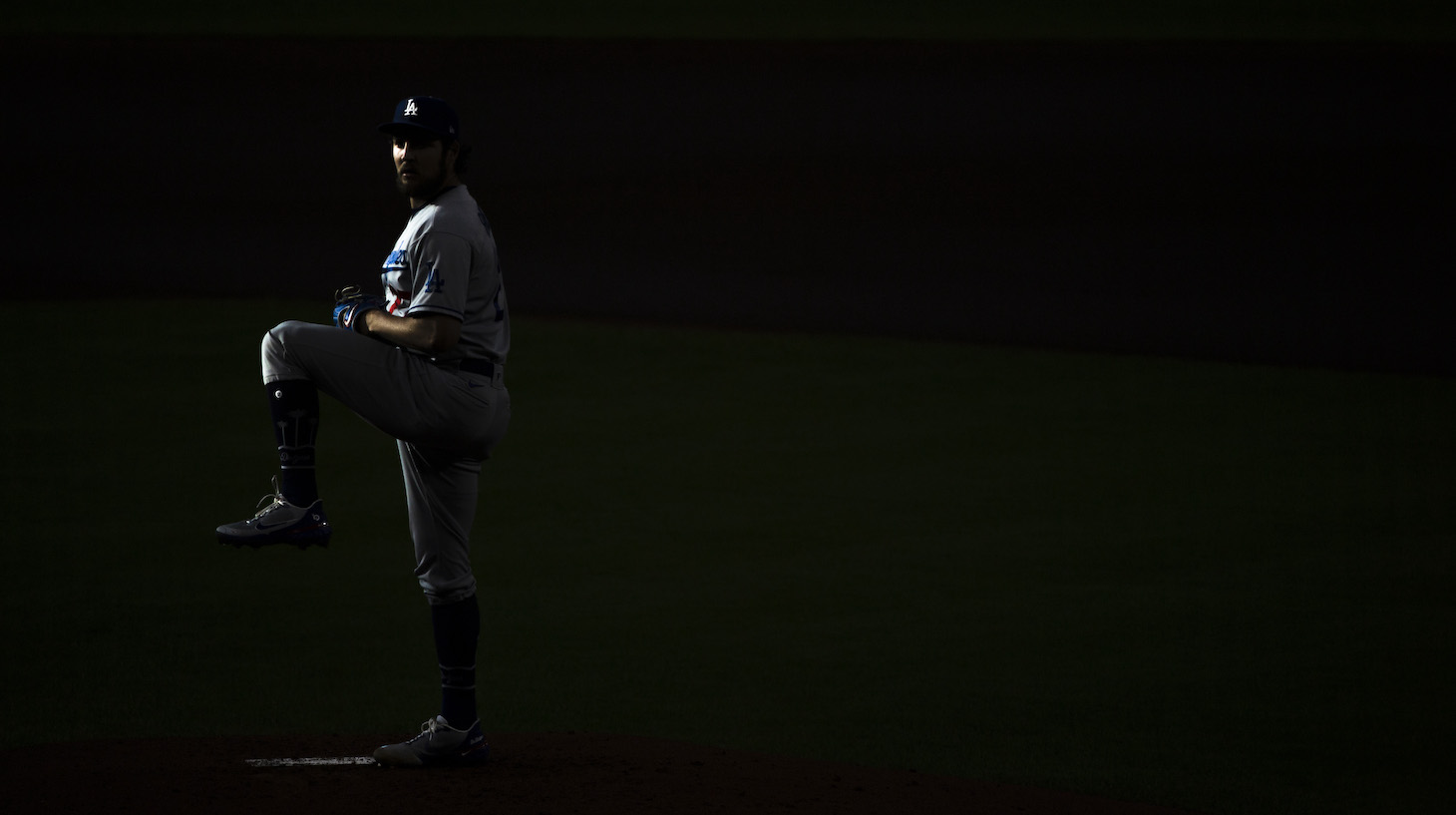 Trevor Bauer of the Los Angeles Dodgers winds up to pitch during the first inning against the Houston Astros at Minute Maid Park on May 26, 2021 in Houston, Texas.