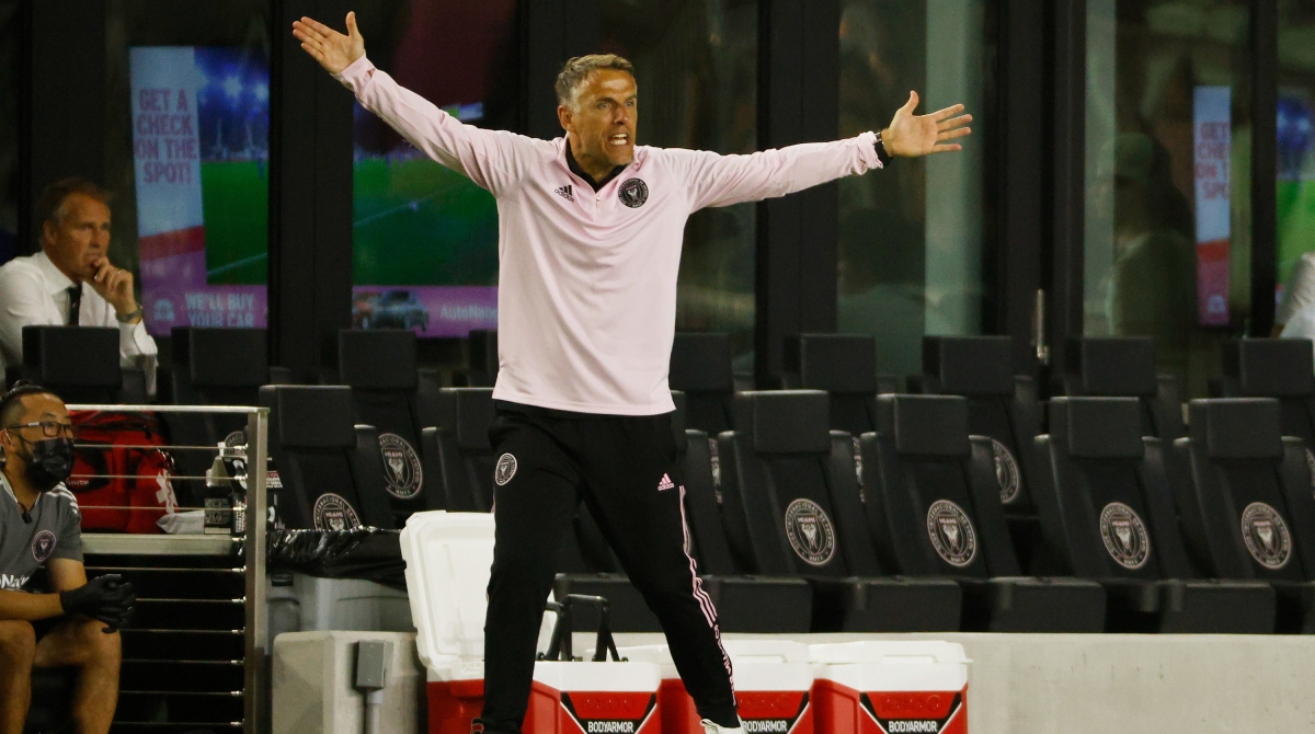 Inter Miami head coach Phil Neville reacts during their match against the D.C. United at DRV PNK Stadium on May 29, 2021 in Fort Lauderdale, Florida.