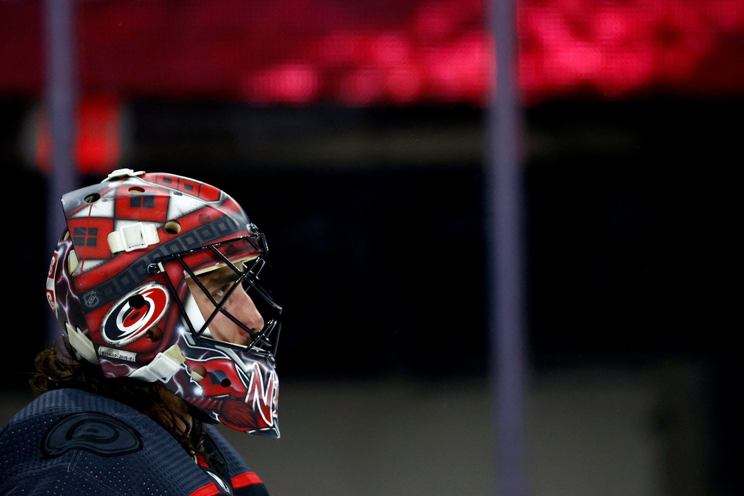 Alex Nedeljkovic #39 of the Carolina Hurricanes looks on during the second period in Game Five of the Second Round of the 2021 Stanley Cup Playoffs against the Tampa Bay Lightning at PNC Arena on June 08, 2021 in Raleigh, North Carolina.