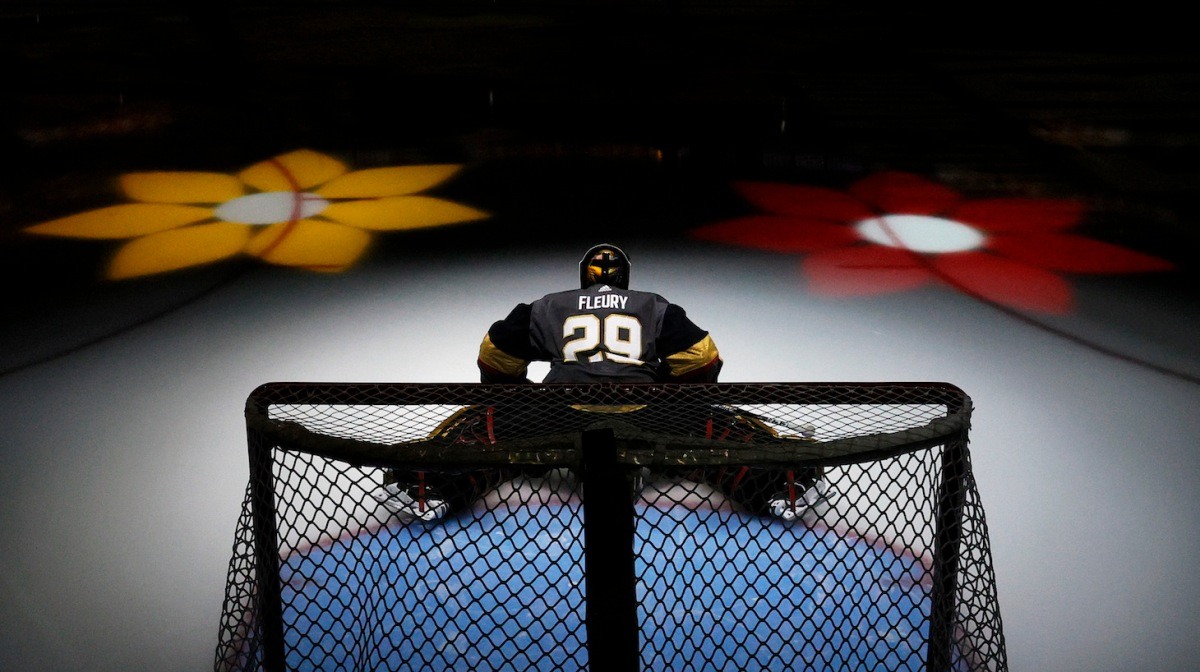 LAS VEGAS, NEVADA - JUNE 22: Marc-Andre Fleury #29 of the Vegas Golden Knights is introduced before Game Five of the Stanley Cup Semifinals during the 2021 Stanley Cup Playoffs against the Montreal Canadiens at T-Mobile Arena on June 22, 2021 in Las Vegas, Nevada. The Canadiens defeated the Golden Knights 4-1. (Photo by Ethan Miller/Getty Images)