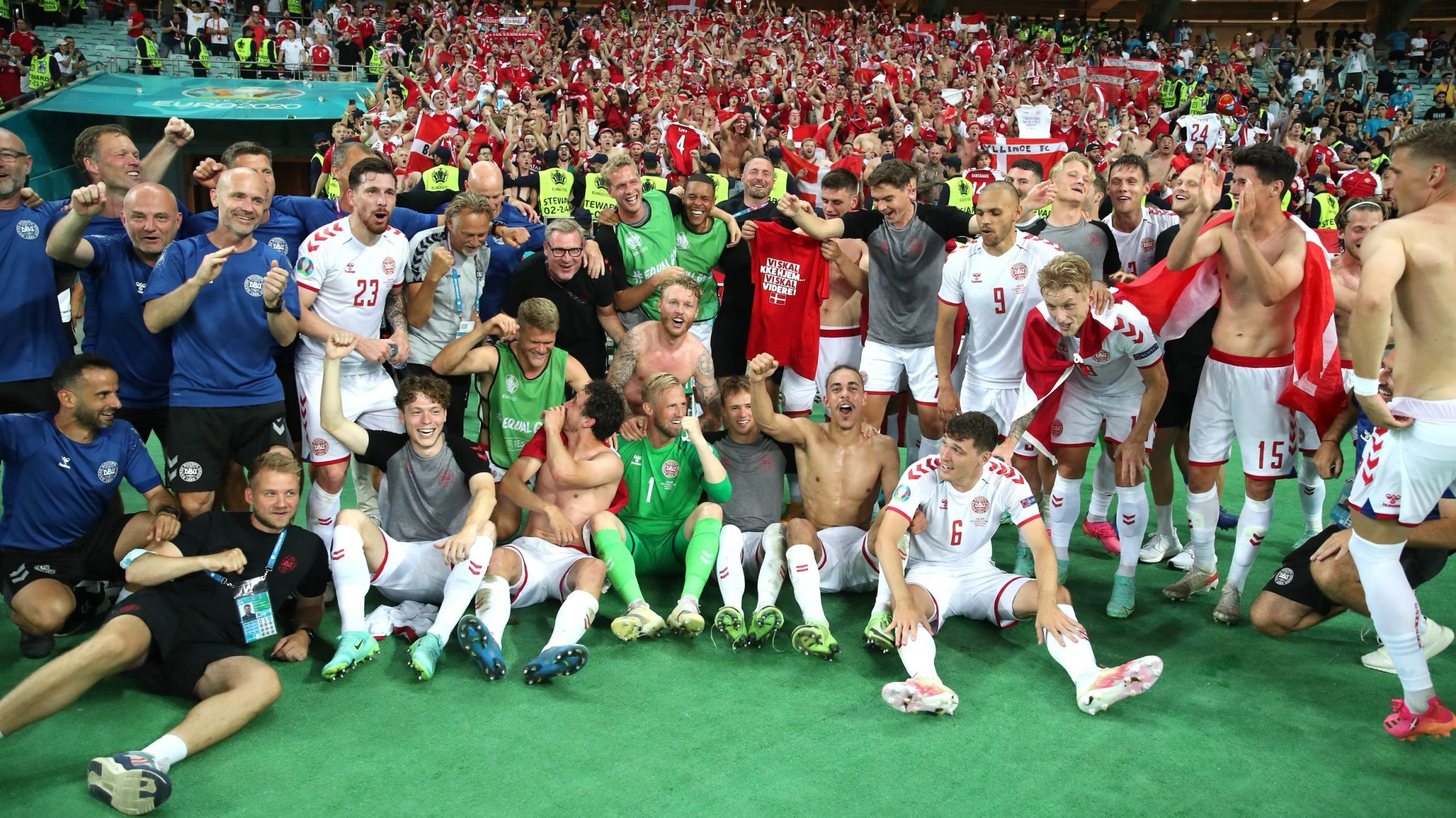 Players of Denmark celebrate their side's victory in front of the fans after the UEFA Euro 2020 Championship Quarter-final match between Czech Republic and Denmark at Baku Olimpiya Stadionu on July 03, 2021 in Baku, Azerbaijan.