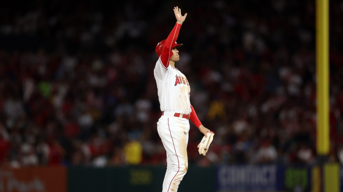 ANAHEIM, CALIFORNIA - JULY 05: Shohei Ohtani #17 of the Los Angeles Angels waves after advancing to second base against the Boston Red Sox in the fifth inning at Angel Stadium of Anaheim on July 05, 2021 in Anaheim, California. (Photo by Ronald Martinez/Getty Images)