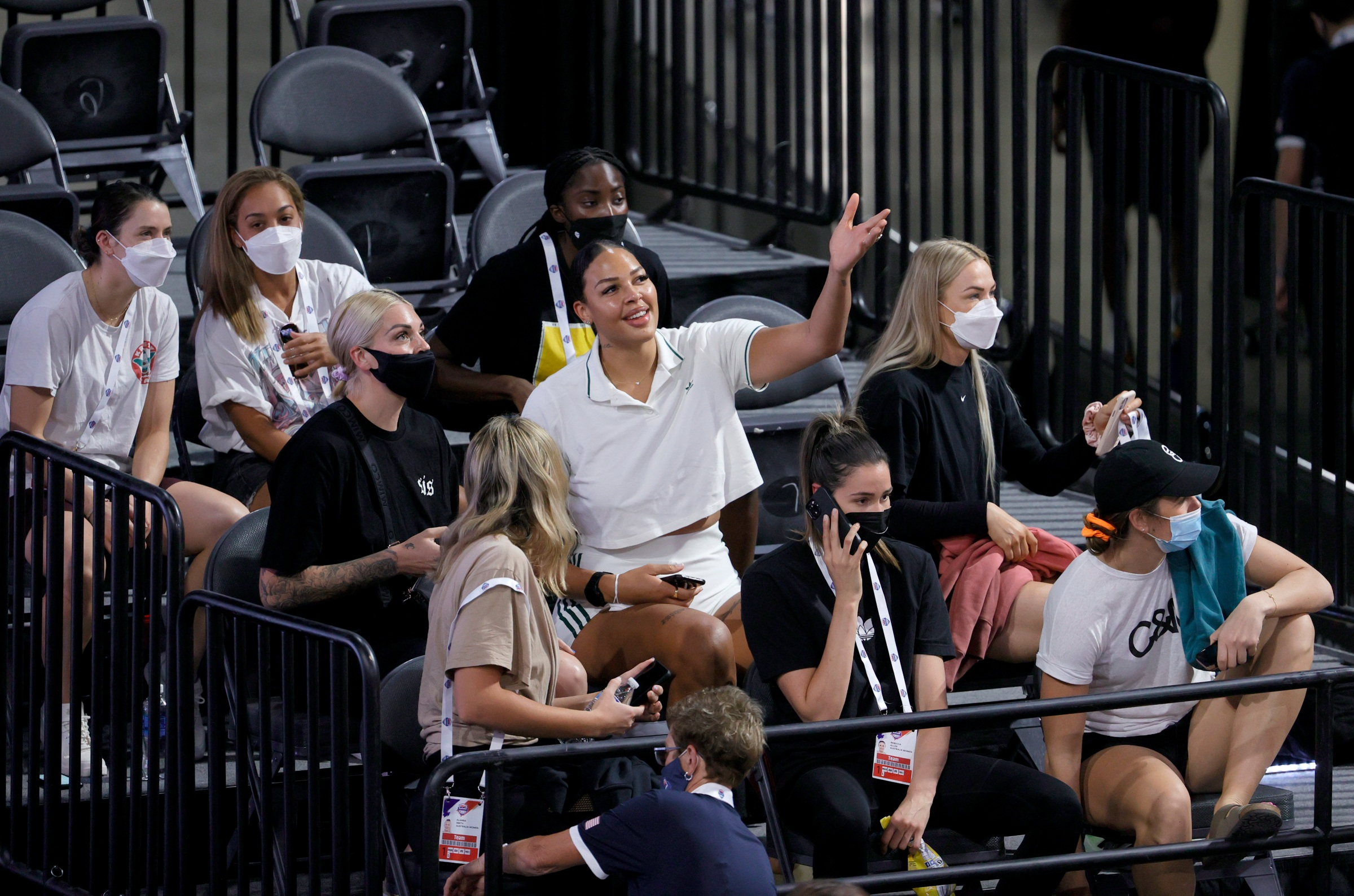 Liz Cambage (C) of the Las Vegas Aces attends an exhibition game between Nigeria and the United States at Michelob ULTRA Arena ahead of the Tokyo Olympic Games on July 10, 2021 in Las Vegas, Nevada.