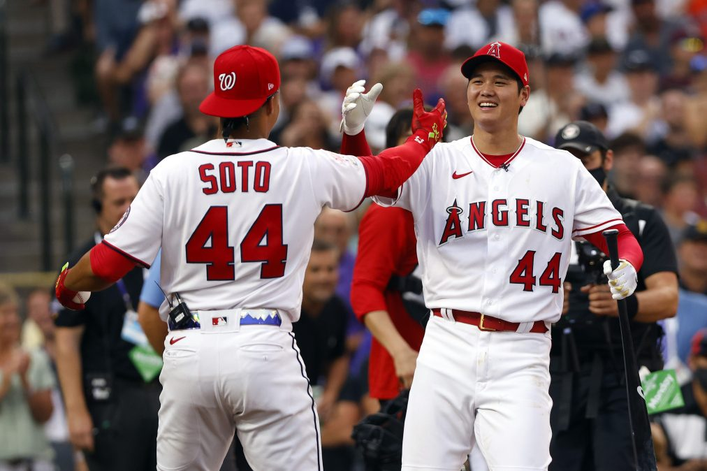 Juan Soto and Shohei Ohtani high-five at the MLB All-Star Game's Home Run Derby