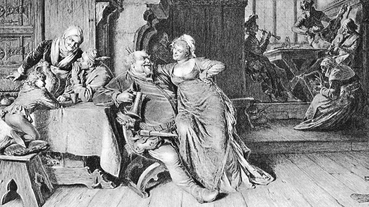 Falstaff sits with a woman, holding a tankard, in an illustrated scene from the Shakespeare play, 'King Henry IV,' Act II, Scene IV. (Kean Collection/Getty Images)