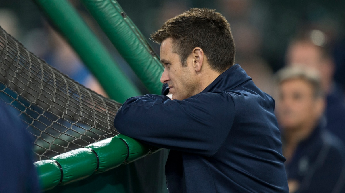 SEATTLE, WA - JUNE 11: Seattle Mariners general manager Jerry Dipoto watches batting practice before a game between the Texas Rangers and the Seattle Mariners at Safeco Field on June 11, 2016 in Seattle, Washington. The Rangers won the game 2-1 in eleven innings. (Photo by Stephen Brashear/Getty Images)