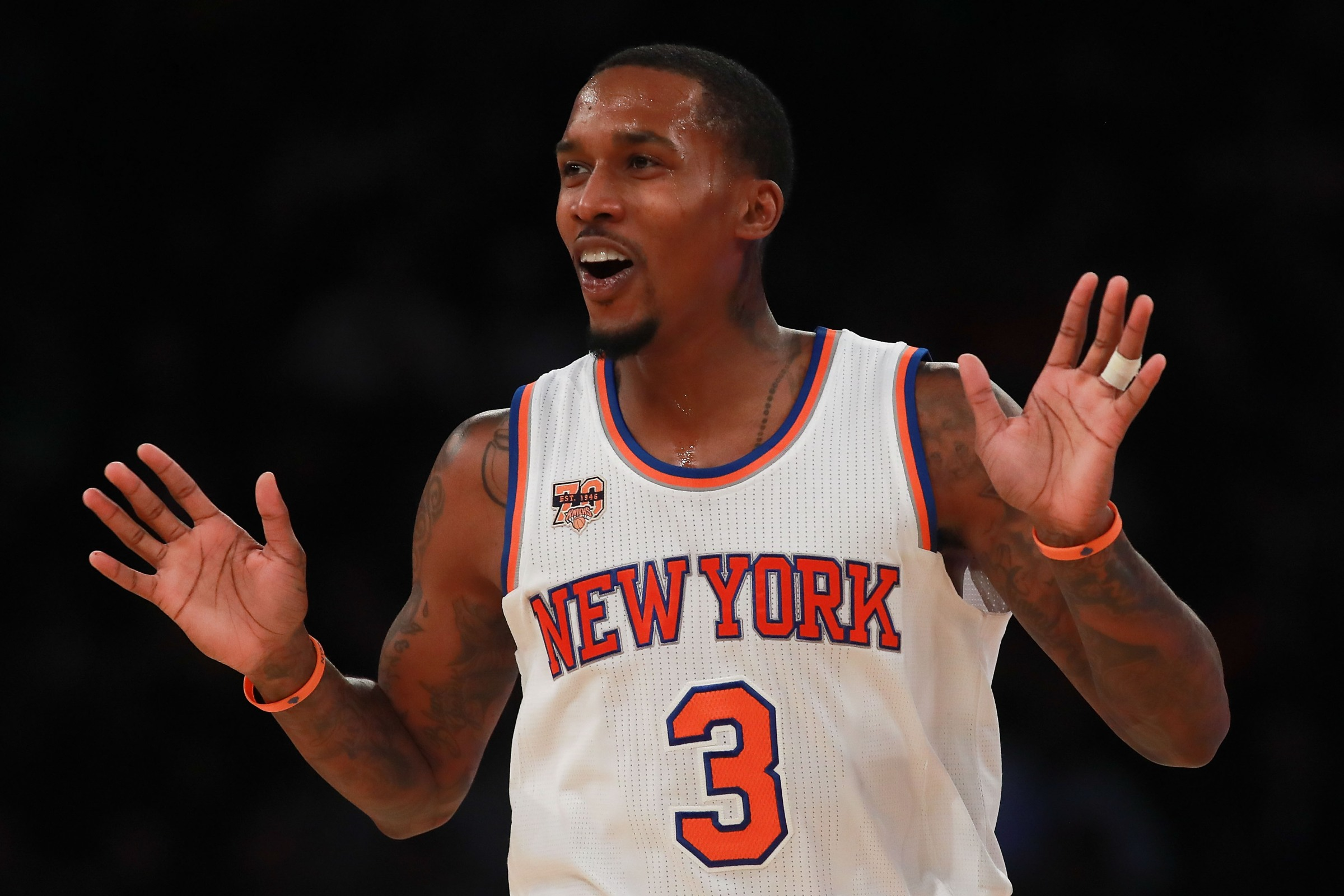 NBA megastar Brandon Jennings seen here objecting to a foul call while with the Knicks, a team he apparently played for.