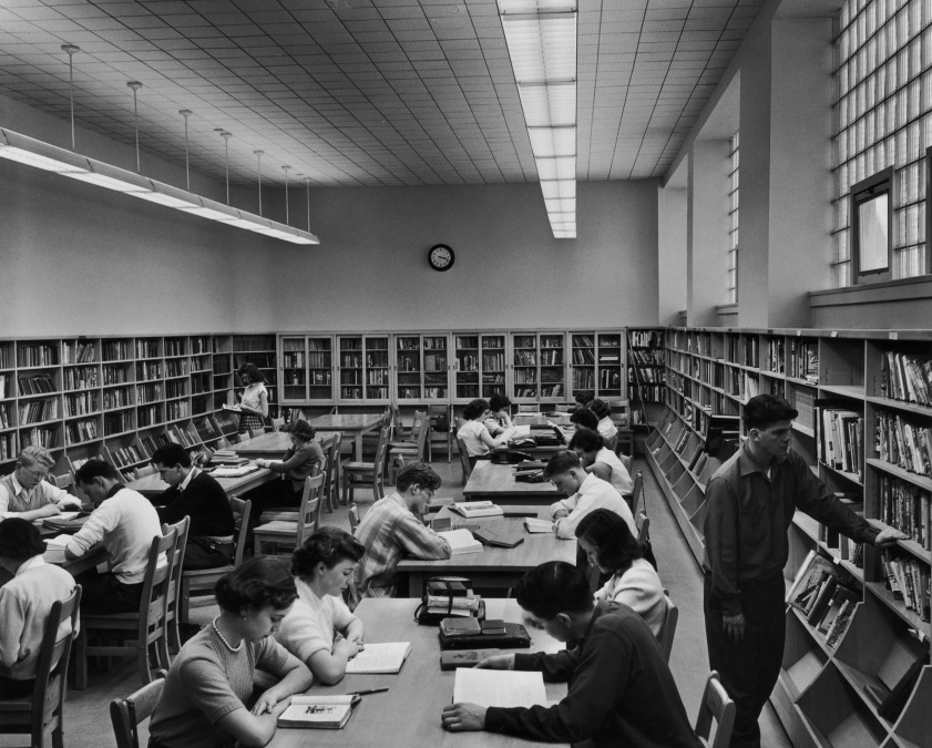 Pupils in the library at Fisher Park High School, Ottawa, circa 1955.