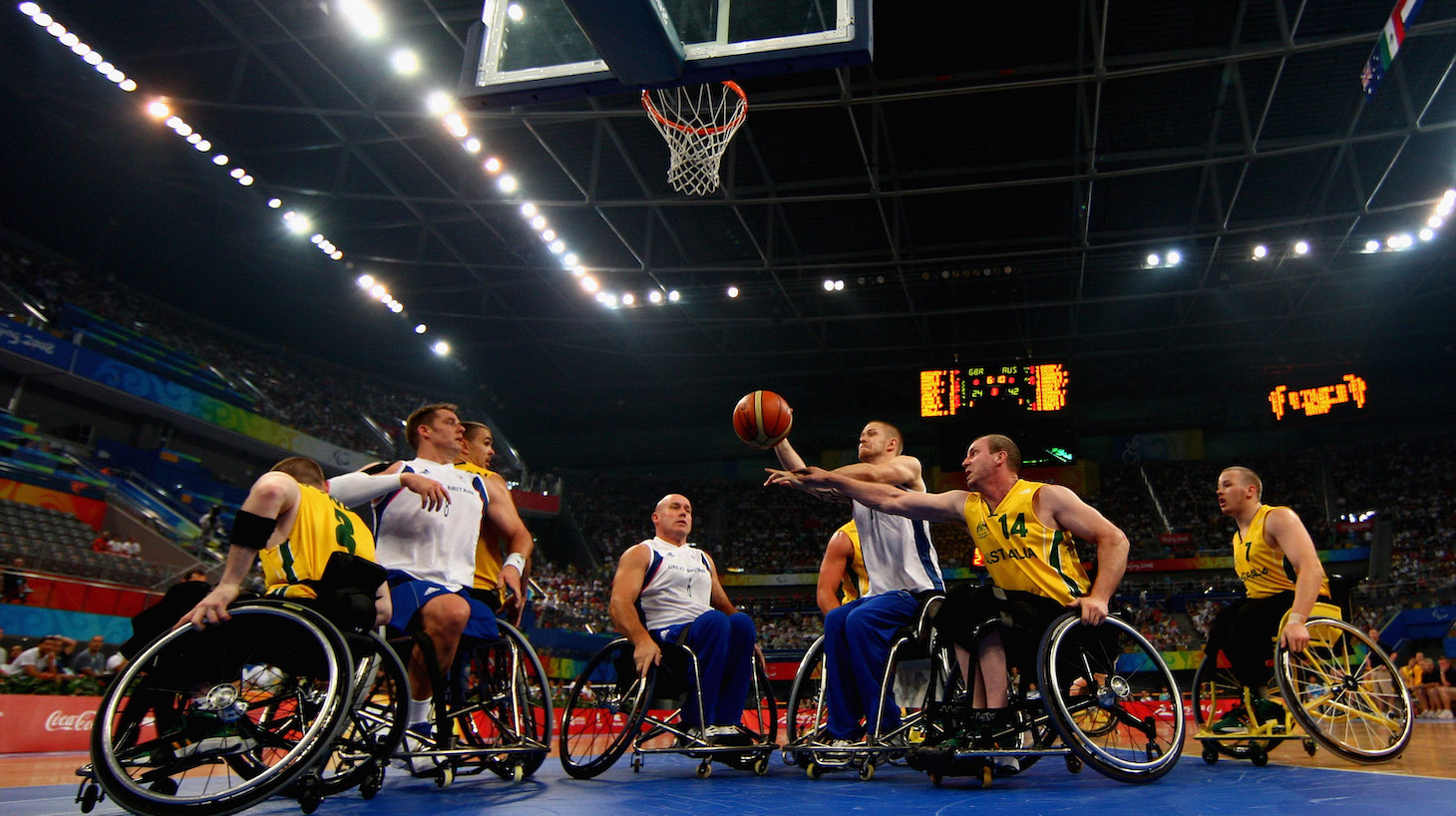 BEIJING - SEPTEMBER 14: Jonathan Hall of Great Britain battles with Brendan Dowler of Australia in the Wheelchair Basketball match between Australia and Great Britain at the National Indoor Stadium during day eight of the 2008 Paralympic Games September 14, 2008 in Beijing, China. (Photo by Jamie McDonald/Getty Images)