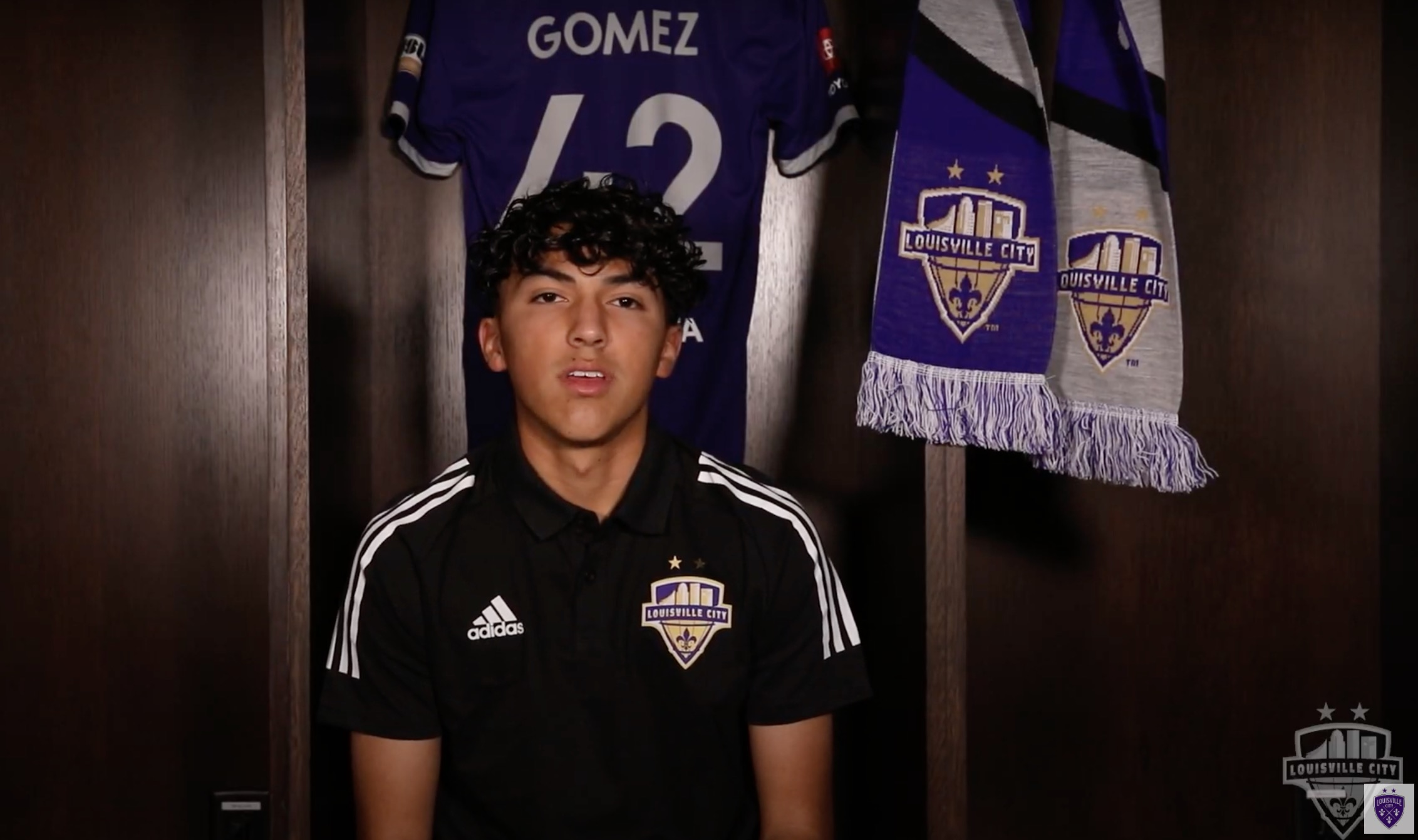 Gomez introducing himself to Louisville City fans last year.