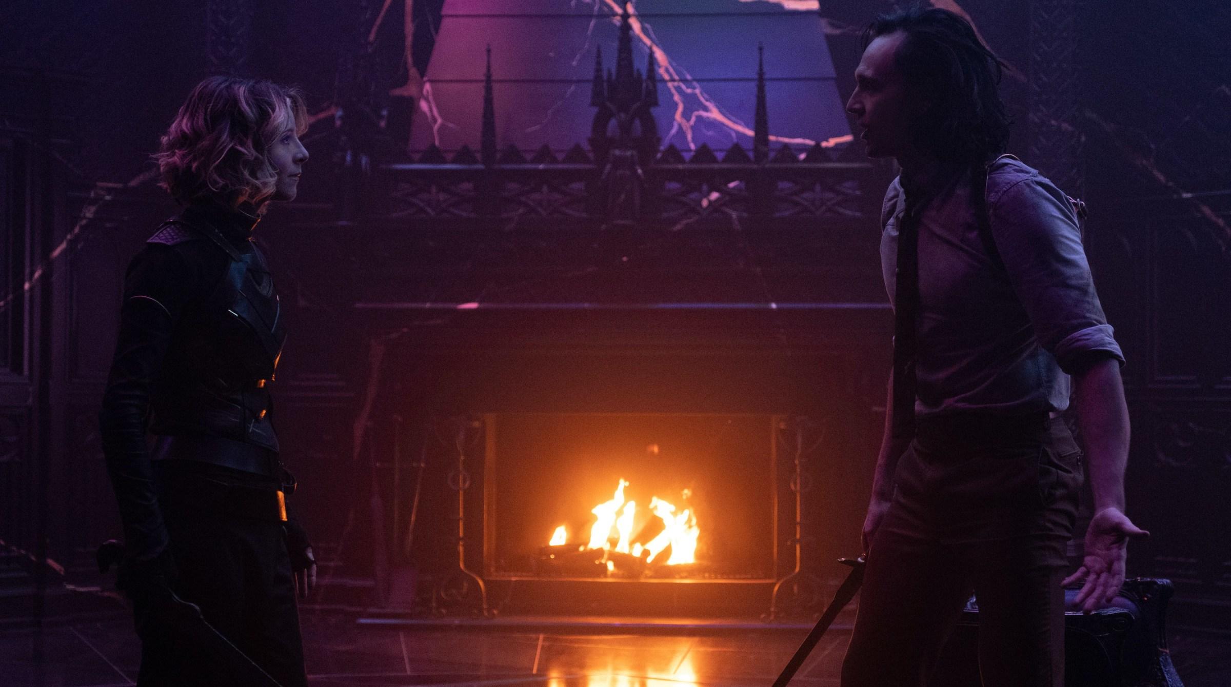 Sylvie (Sophia Di Martino) and Loki (Tom Hiddleston) in Marvel Studios' LOKI