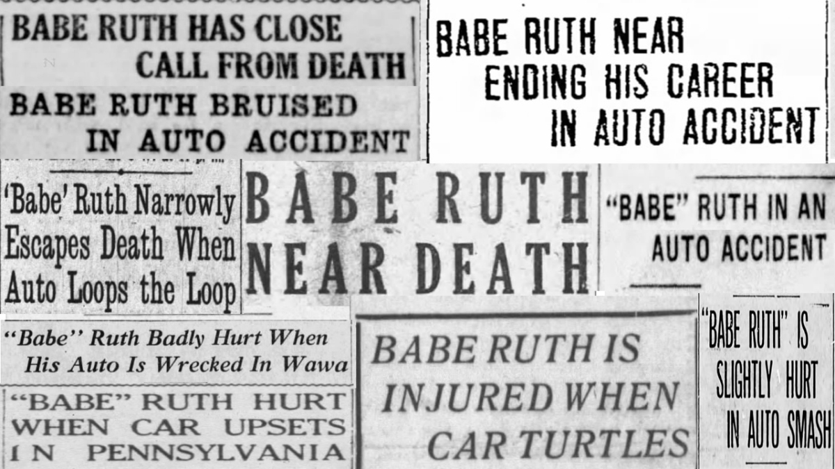 A collage of Babe Ruth headlines from newspapers at the time