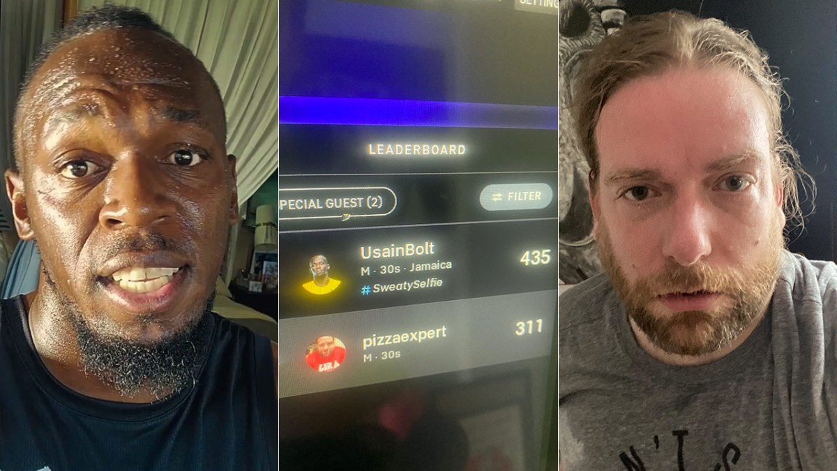 Triptych of Usain Bolt, the Peloton leaderboard (Usain wins 435-311) and me, Dan McQuade