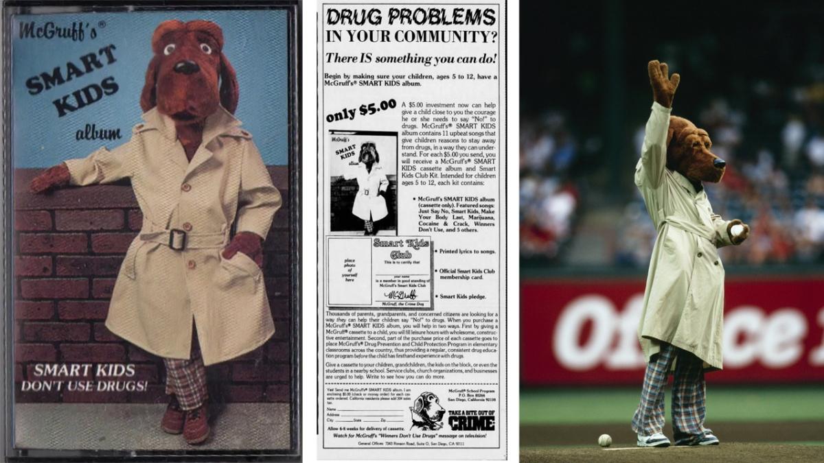 Triptych of McGruff, an ad promoting McGruff's album, and McGruff again