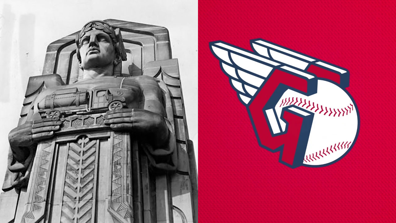 Guardians of Traffic photo in 1932, mixed with Cleveland Guardians logo now