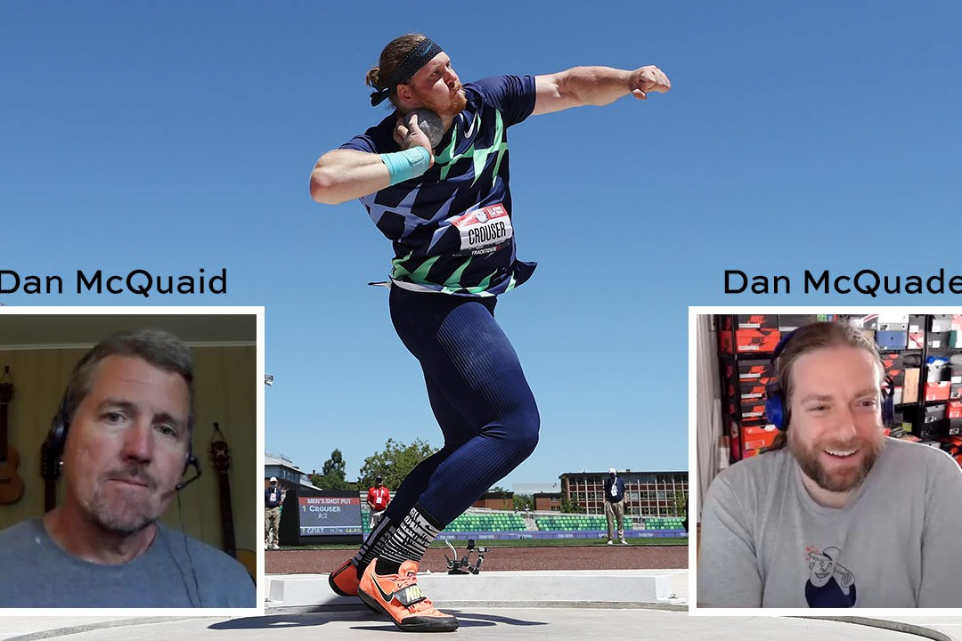 Ryan Crouser throws. Dan McQuaid insert photo. Dan McQuade insert photo.