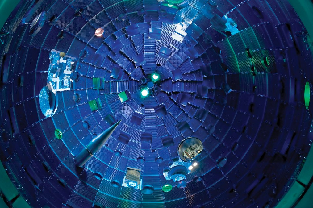 A view of the interior of the National Ignition Facility target chamber.