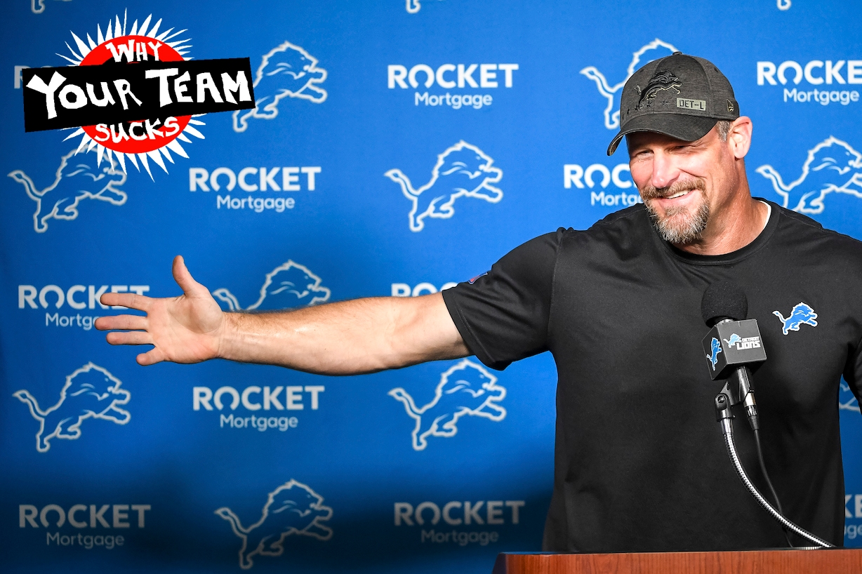 ALLEN PARK, MICHIGAN - JULY 28: Detroit Lions head football coach Dan Campbell speaks with the media before the Detroit Lions Training Camp on July 28, 2021 in Allen Park, Michigan. (Photo by Nic Antaya/Getty Images)