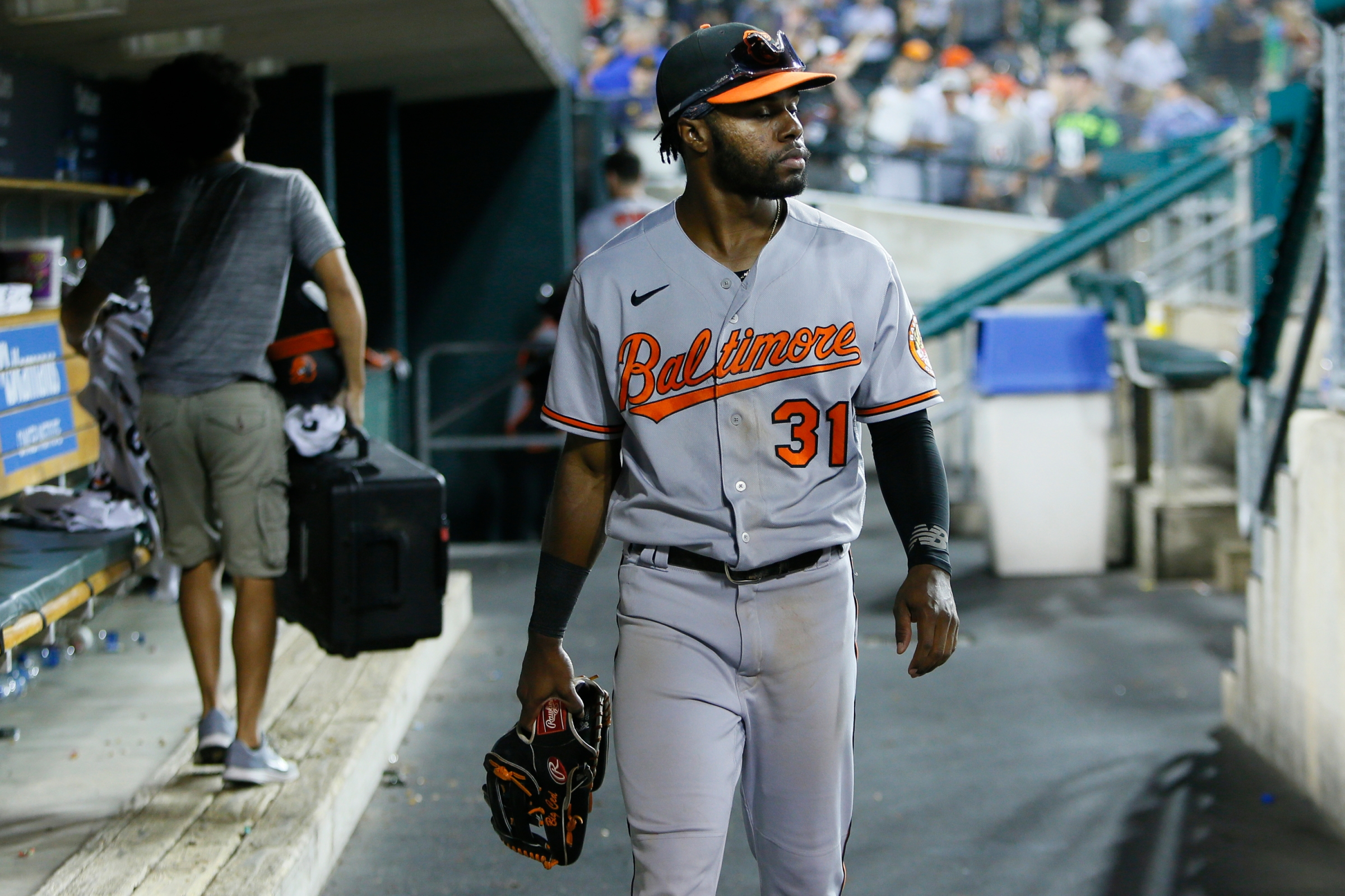 Orioles outfielder Cedric Mullins in the dugout after a loss to the Detroit Tigers.