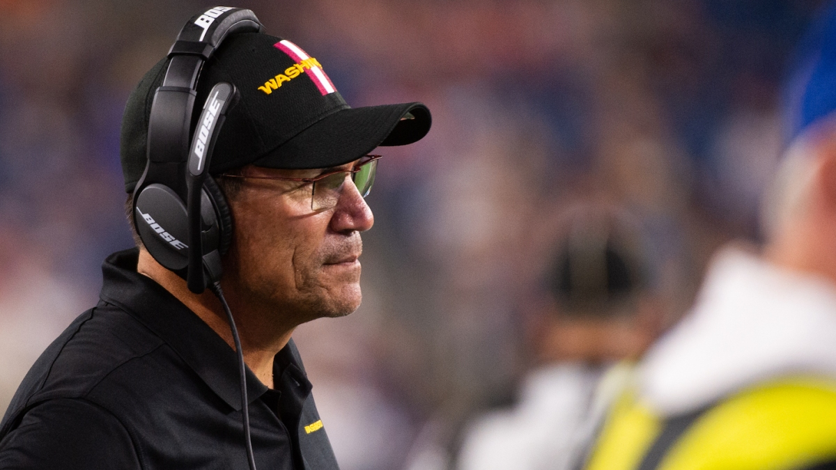 FOXBOROUGH, MA - AUGUST 12: Washington Football Team head coach Ron Rivera in the second half against the New England Patriots at Gillette Stadium on August 12, 2021 in Foxborough, Massachusetts. (Photo by Kathryn Riley/Getty Images)