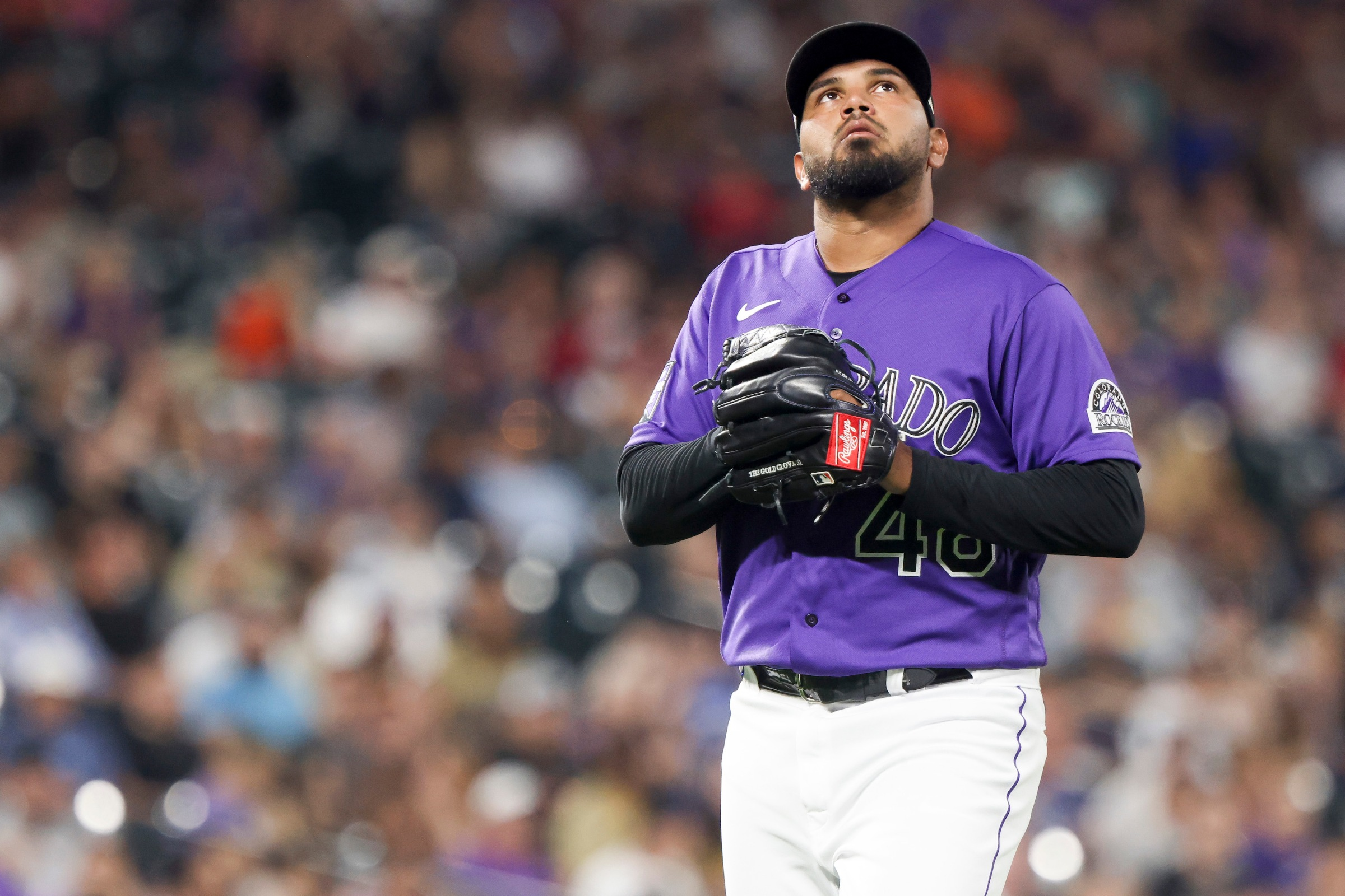 German Marquez #48 of the Colorado Rockies leaves the game after allowing three home runs by the San Diego Padres during the seventh inning at Coors Field on August 17, 2021 in Denver, Colorado.