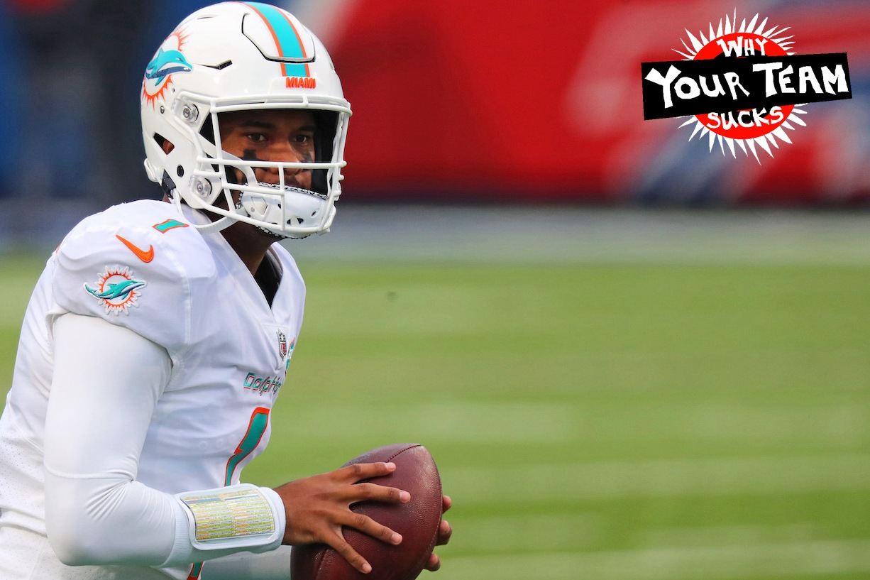 ORCHARD PARK, NEW YORK - JANUARY 03: Tua Tagovailoa #1 of the Miami Dolphins warms up before the game against the Buffalo Bills at Bills Stadium on January 03, 2021 in Orchard Park, New York. (Photo by Timothy T Ludwig/Getty Images)