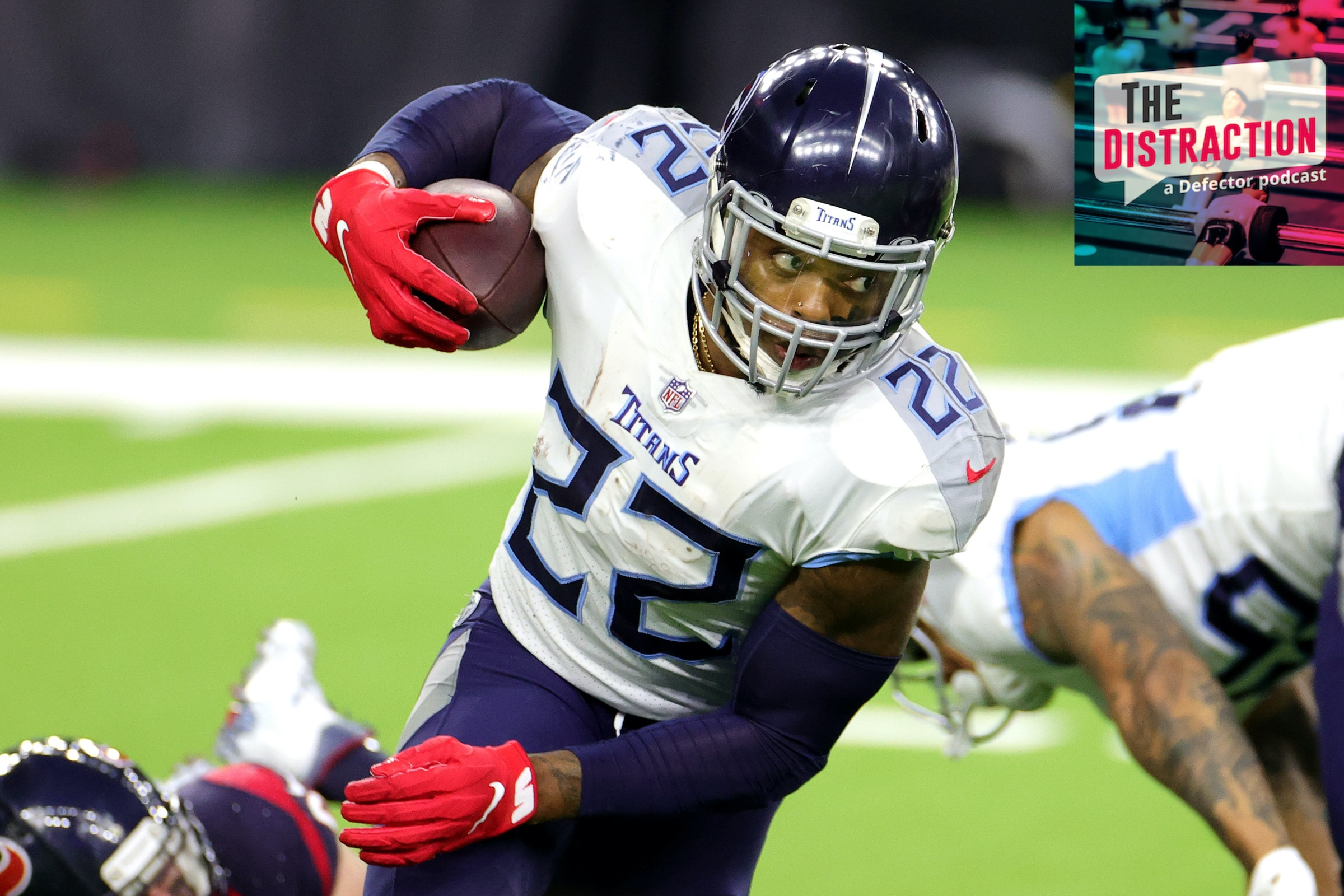Tennessee Titans star Derrick Henry rushes against the Houston Texans at the end of the last NFL season.