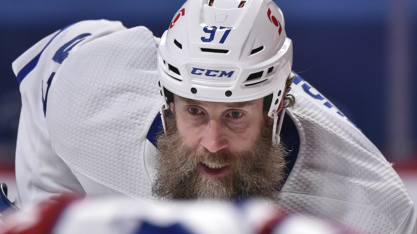 MONTREAL, QC - MAY 03: Joe Thornton #97 of the Toronto Maple Leafs skates against the Montreal Canadiens during the third period at the Bell Centre on May 3, 2021 in Montreal, Canada. The Montreal Canadiens defeated the Toronto Maple Leafs 3-2 in overtime. (Photo by Minas Panagiotakis/Getty Images)