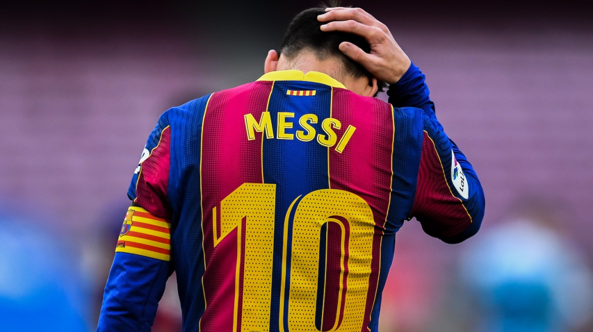Lionel Messi of FC Barcelona shows his dejection during the La Liga Santander match between FC Barcelona and RC Celta at Camp Nou on May 16, 2021 in Barcelona, Spain. Sporting stadiums around Spain remain under strict restrictions due to the Coronavirus Pandemic as Government social distancing laws prohibit fans inside venues resulting in games being played behind closed doors.