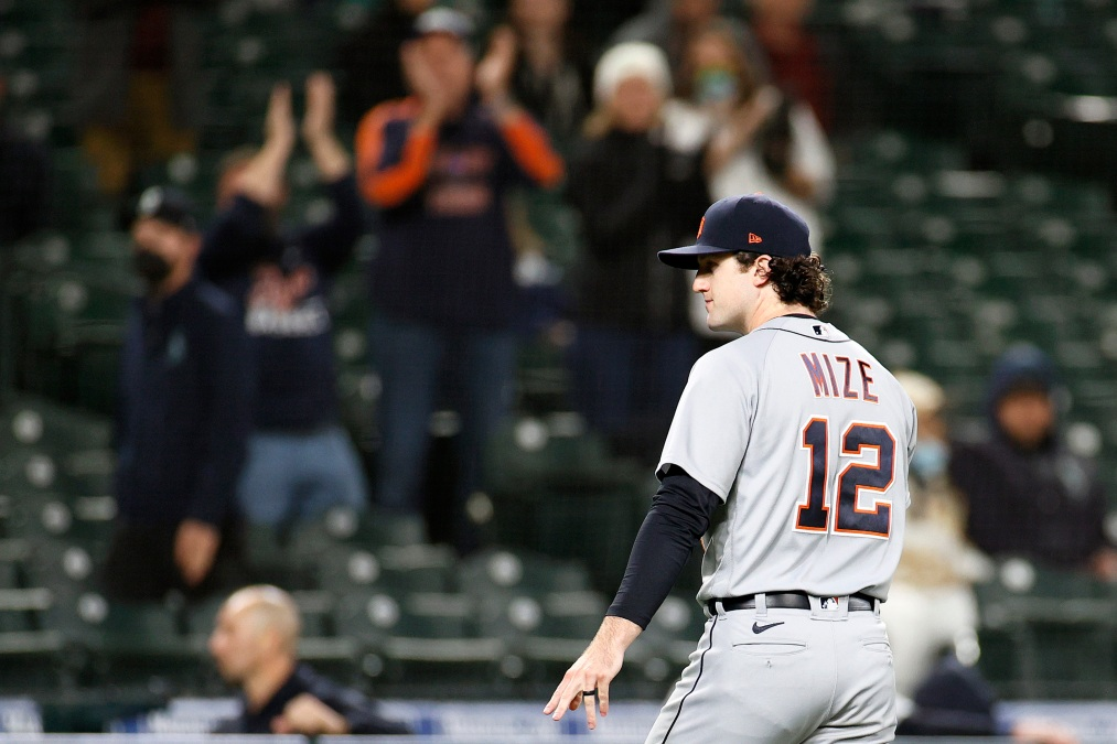 Casey Mize #12 of the Detroit Tigers gestures after he was taken out of the game during the eighth inning against the Seattle Mariners at T-Mobile Park on May 17, 2021 in Seattle, Washington.