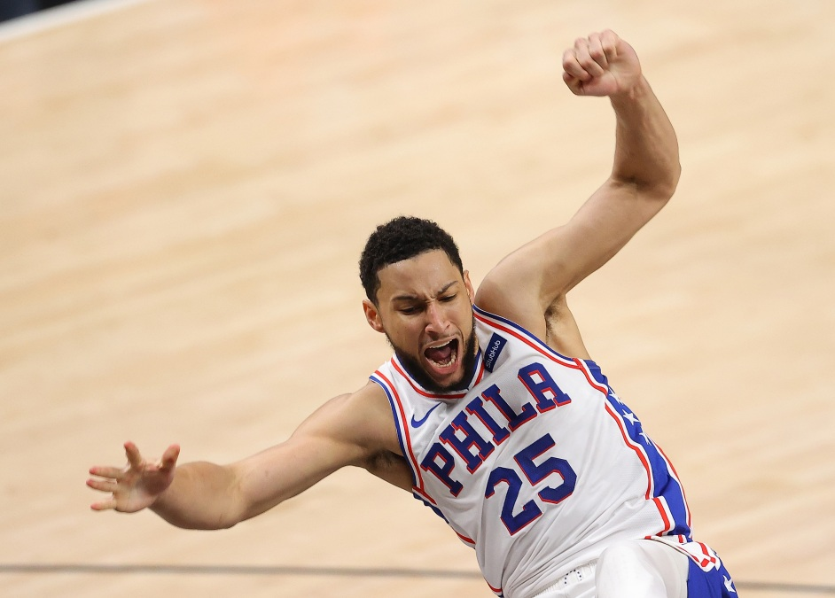 Ben Simmons slips and falls.