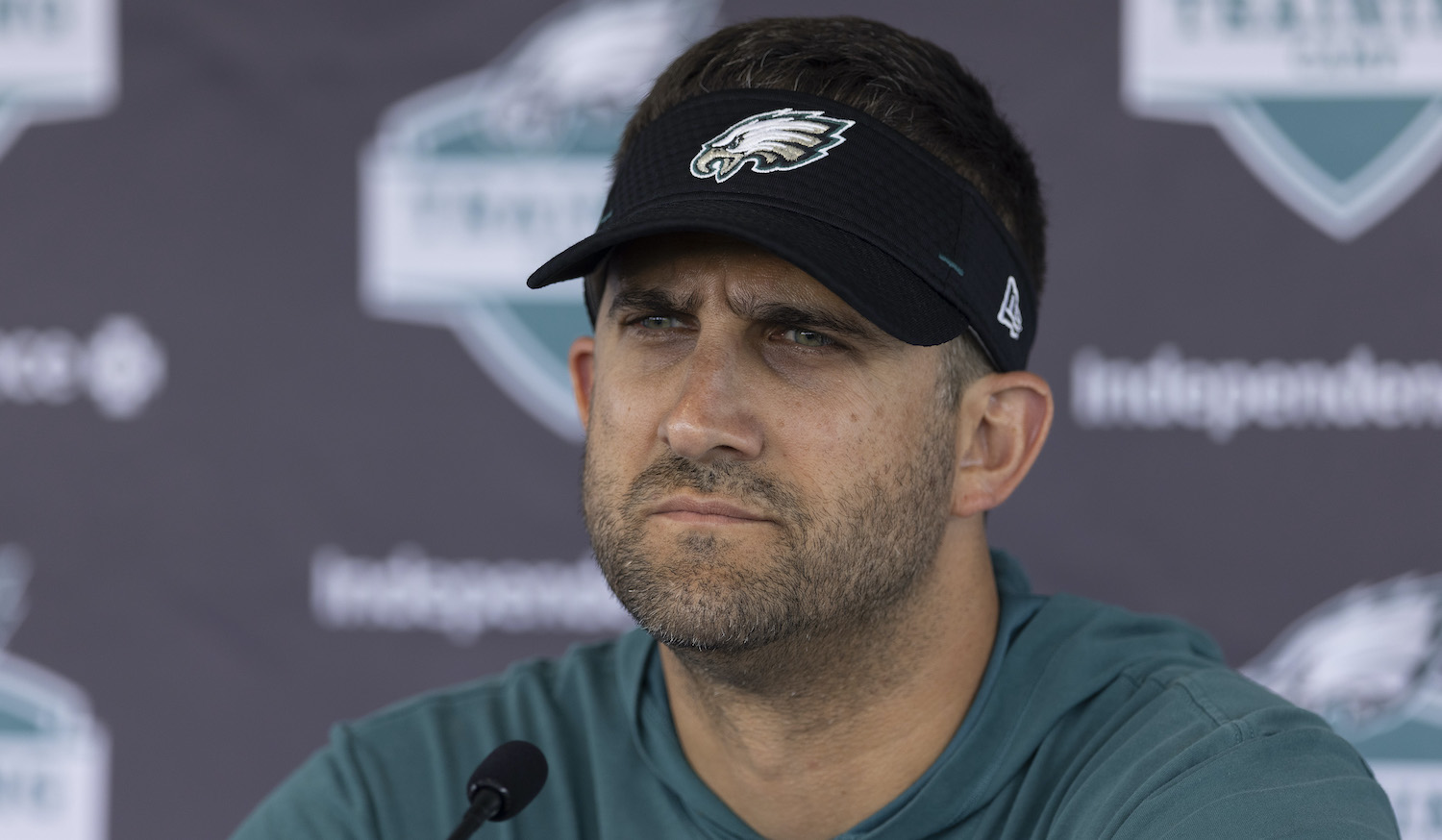 PHILADELPHIA, PA - JULY 28: Head coach Nick Sirianni of the Philadelphia Eagles talks to the media during training camp at the NovaCare Complex on July 28, 2021 in Philadelphia, Pennsylvania. (Photo by Mitchell Leff/Getty Images)